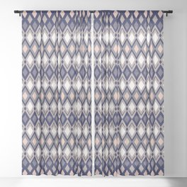 Diamonds in colors of pale rose and sand on dark background Sheer Curtain