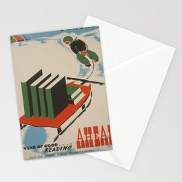Vintage poster -  A Year of Good Reading Ahead Stationery Cards