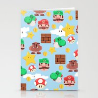 super mario Stationery Cards featuring Super Mario by Clef