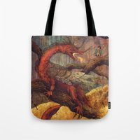 smaug Tote Bags featuring Dragons Lair by Angela Rizza