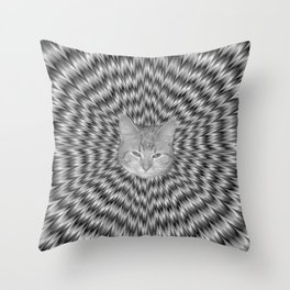 Dizzy Cat Abstract in Monochrome Throw Pillow