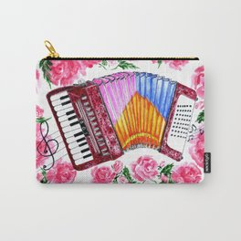 Accordion with pink roses Carry-All Pouch