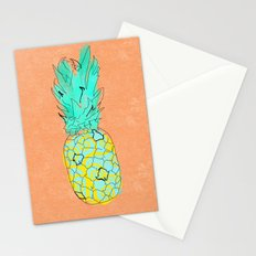Neon Pineapple in Orange Stationery Cards