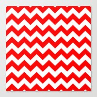 chevron Canvas Prints featuring Chevron (Red/White) by 10813 Apparel