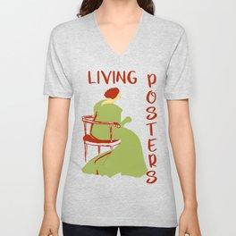 Living posters minimalist art nouveau Unisex V-Neck