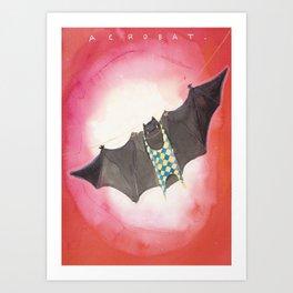 Acrobat Black Bat in Diamond Circus Watercolor Art Print