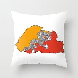 Bhutan Map with Flag Throw Pillow