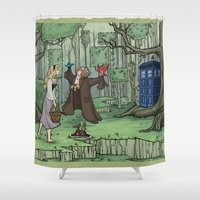 hallion Shower Curtains featuring Visions are Seldom all They Seem by Karen Hallion Illustrations