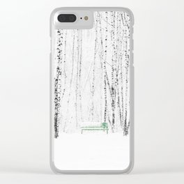 Green bench in white winter forest Clear iPhone Case