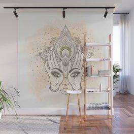 Peach & Gold Boho Lotus Wall Mural