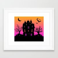 haunted mansion Framed Art Prints featuring Haunted Silhouette Rainbow Mansion by rainbowdreams