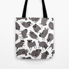 Peppy Black Pug pattern - black and white Tote Bag