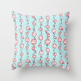 Watermelon Rose Wildflower Throw Pillow