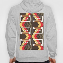 Vintage Tapes Pattern Brown Hoody