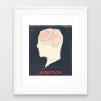 movie poster Framed Art Prints featuring Inception - Movie Poster by Joel Amat Güell