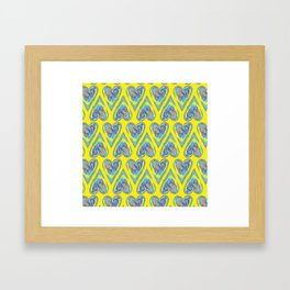 Hearts on Yellow Framed Art Print