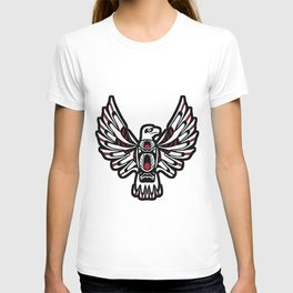 Digital Black and White Eagle Totem Design T-shirt