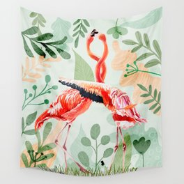 Flamingo Love Wall Tapestry