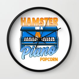Funny Hamster On A Piano Eating Popcorn Random Funny Design Wall Clock
