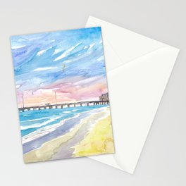 Outer Banks Pier At Nags Head At Sunset Stationery Cards