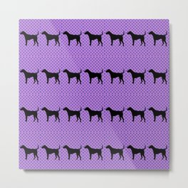 Black Lab in Purple Pattern Metal Print