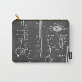 Hair Scissors Patent - Salon Art - Black Chalkboard Carry-All Pouch