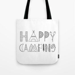 Happy Camping in black Tote Bag