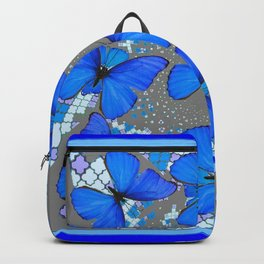 Decorative Blue Shades Butterfly Grey Pattern Art Backpack