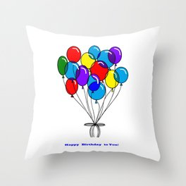 A Happy Birthday with Many Colored Balloons Throw Pillow