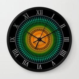 Green and yellow spikes mandala Wall Clock