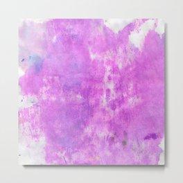 Hand painted neon pink purple watercolor Metal Print