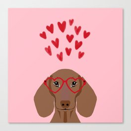 Dachshund valentines day love heart gifts dog breed doxie must haves Canvas Print
