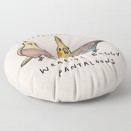 Cockatiels Wearing Baggy Pantaloons Floor Pillow