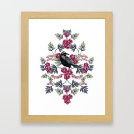 Crows, Bleeding Hearts & Roses Floral/Botanical Pattern Framed Art Print