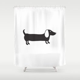 Simple black and white dachshund Shower Curtain