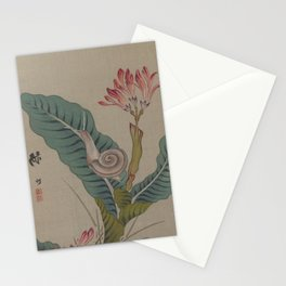 Japanese SNAIL and CANNA Lilly FLOWER Leaves Stationery Cards