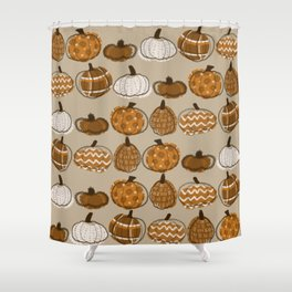 Pumpkin Party in Almond Shower Curtain