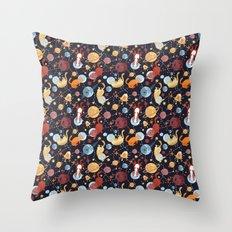 Cat astronaut seamless pattern Throw Pillow