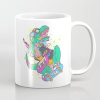 trex Mugs featuring Ju-RAD-ssic Park by Fightstacy