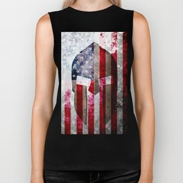 Molon Labe - Spartan Helmet Across An American Flag On Distressed Metal Sheet Biker Tank