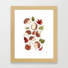 Autumn Hedgehogs Framed Art Print