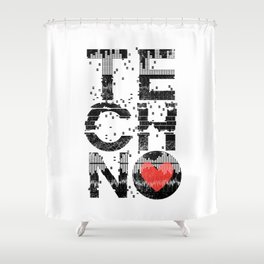 Love Techno Music Shower Curtain