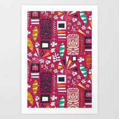 tiki pink Art Print