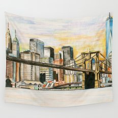NYC Scape Downtown  Wall Tapestry