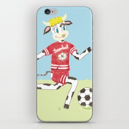 Snowbell the cow plays soccer iPhone Skin