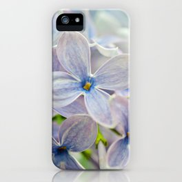 Macro shot of beautiful lilac flower on blurred background. Shallow depth of field. iPhone Case