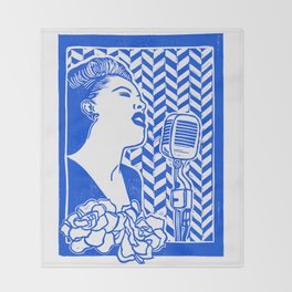 Lady Day (Billie Holiday block print) Throw Blanket