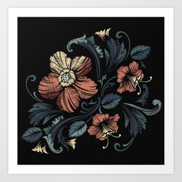 Floral on Black Art Print