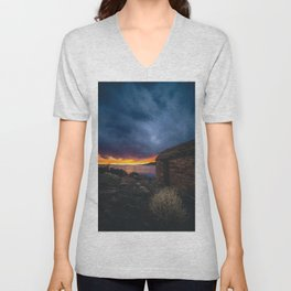 Southwest Lake Sunset Unisex V-Neck