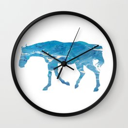 Light Blue Marble Thoroughbred Horse Silhouette Wall Clock